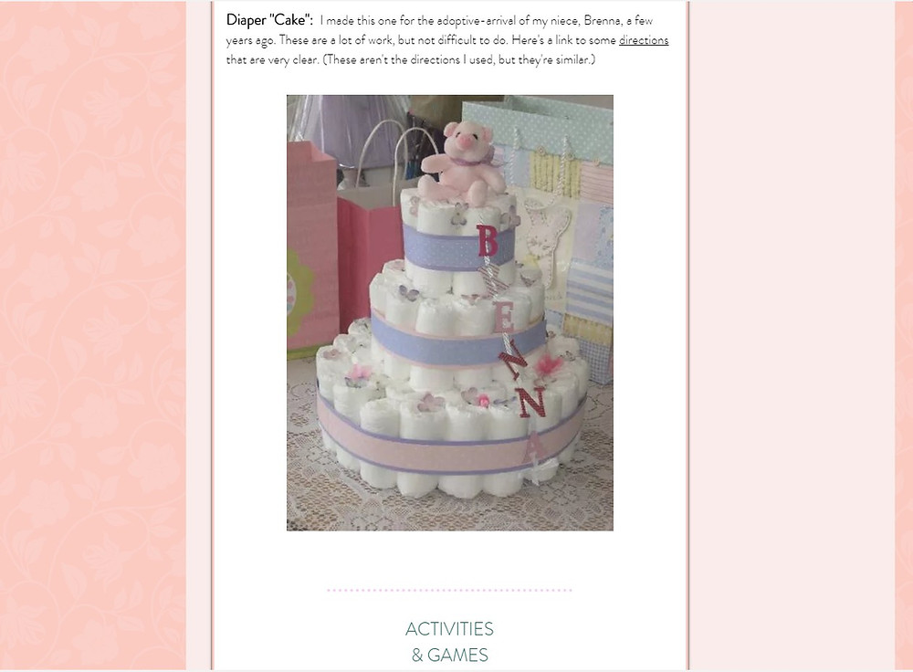 Screenshot of Diaper Cake / ABC Book to Make at a Baby Shower / www.HoneycombOasis.com