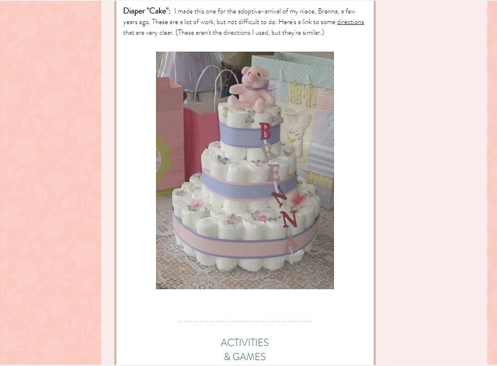 Screenshot of Diaper Cake / ABC Book to Makeat a Baby Shower / www.HoneycombOasis.com