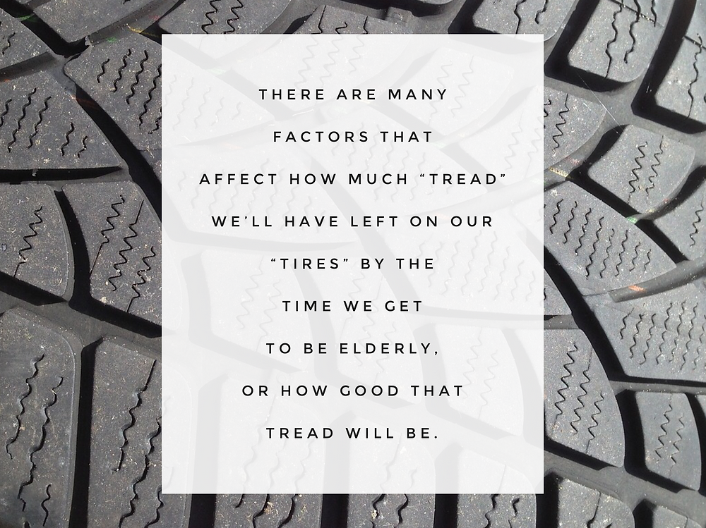 "Picture of tire tread with text: ""There are many factors..."" / ""Older Barb"" Talks to ""Current Barb"" / www.HoneycombOasis.com"