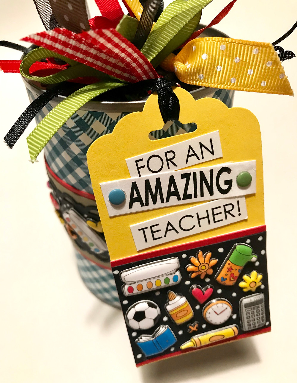 Tag on can with lots of colorful ribbon ties / Teacher Appreciation Gift-in-a-Can / HoneycombOasis.com