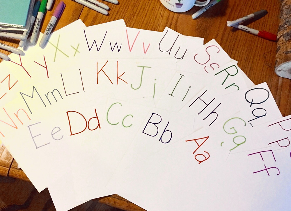 Colorful alphabet letter-pairs on spread-out pages / ABC Book to Make at a Baby Shower / www.HoneycombOasis.com