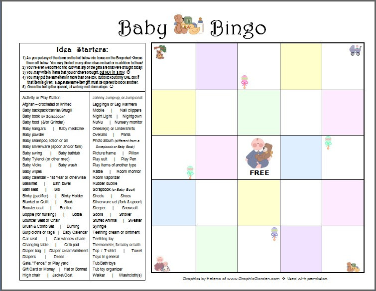 Baby Bingo Page (FREE printable) / My Best DIY Baby Shower Ideas / www.HoneycombOasis.com