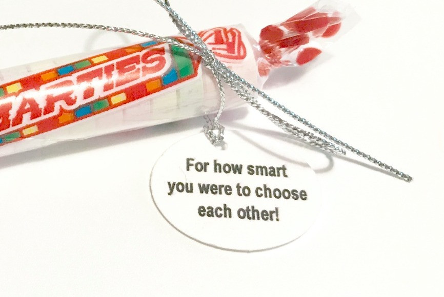 Smarties + label / Make a Wedding Gift-in-a-Can / www.HoneycombOasis.com