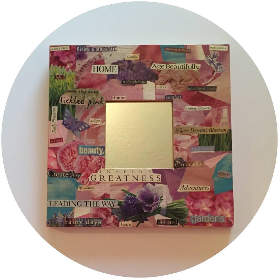 Decoupaged Mirror / A Dozen Rosey Life Lessons / www.HoneycombOasis.com