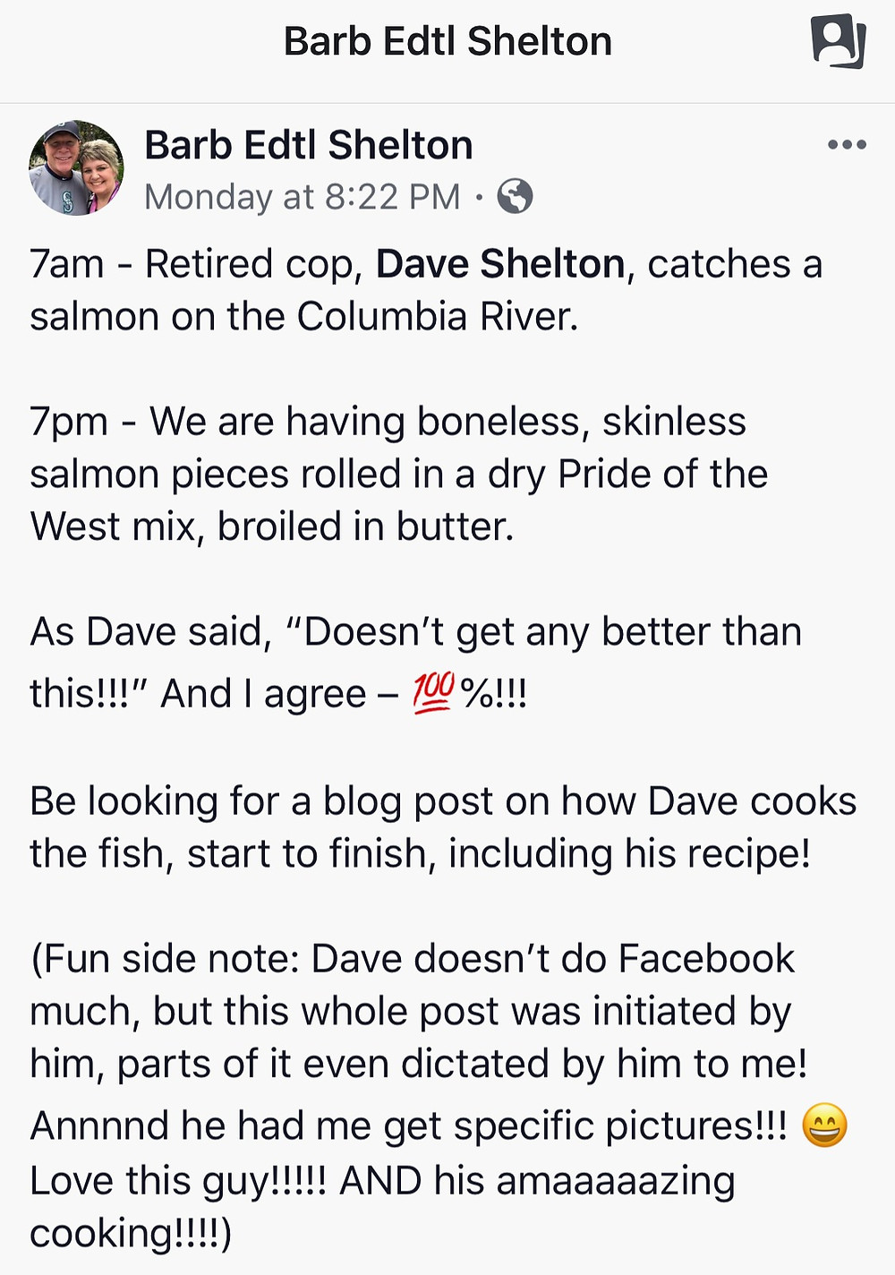 Screenshot of Facebook Post on Dave's fish-to-table story / Man Bee Cookin' Broiled Fish / www.HoneycombOasis.com