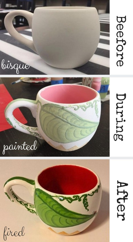 Before, During, & After's of Barb Shelton's Sunflower Mugs / www.HoneycombOasis.com