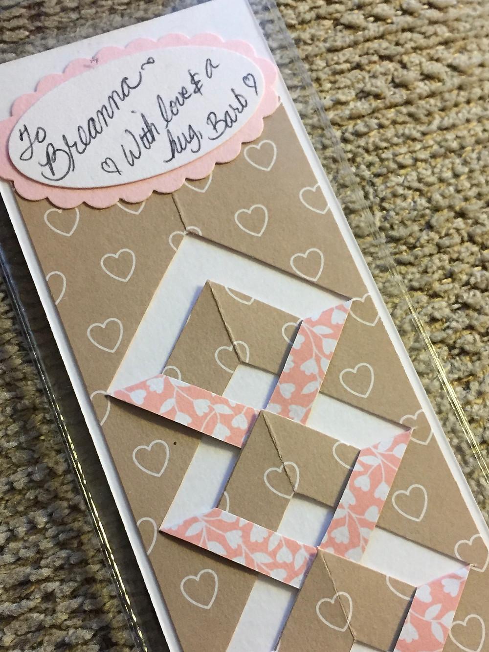Back of bookmarker for Breanna / Make a Bride Blessing Gift Bag / www.HoneycombOasis.com