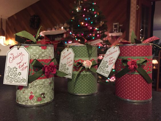 3 Christmas Gift-in-a-Cans, full view / Gift-in-a-Can: Decorating It (Part 3) / www.HoneycombOasis.com