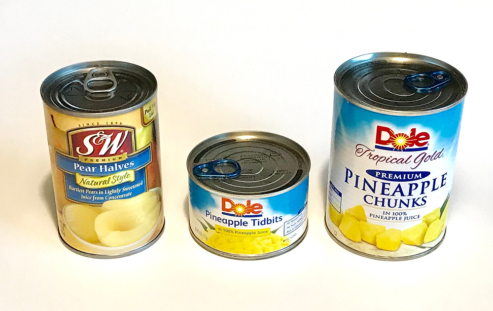 3 sizes of cans with unopened pull-tab tops and lipped bottoms / Gift-in-a-Can: Themes & Contents (Part 1) / www.HoneycombOasis.com
