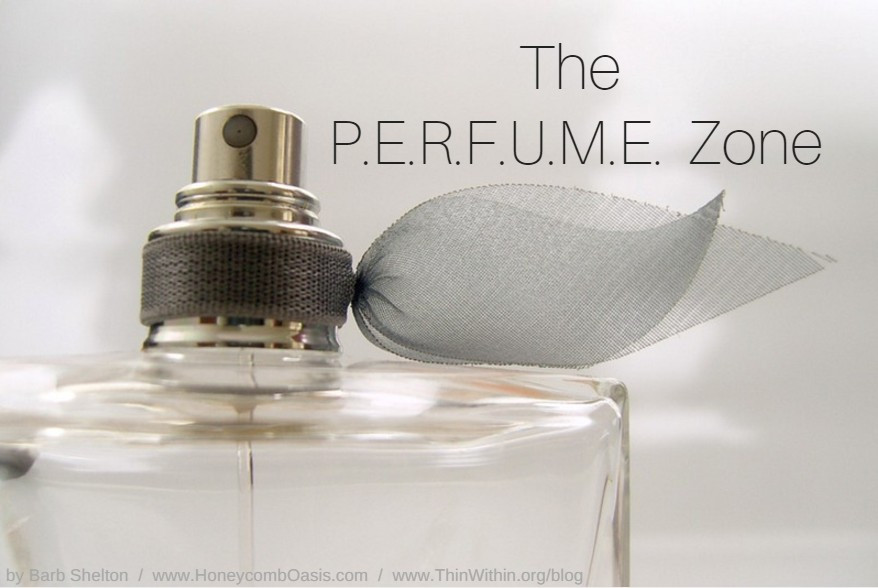Perfume bottle / The P.E.R.F.U.M.E. Zone (in Weight Loss Land) / www.HoneycombOasis.com