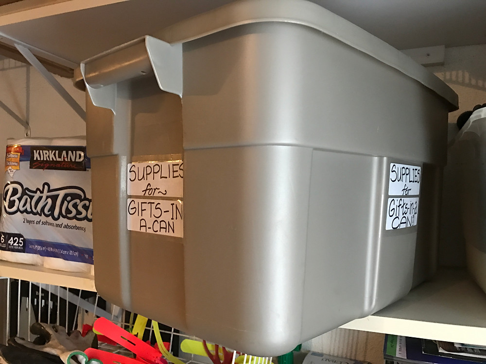 Two labeled sides of large supply bin / Gift-in-a-Can: Organize Your Supplies (Pt 5) / www.HoneycombOasis.com