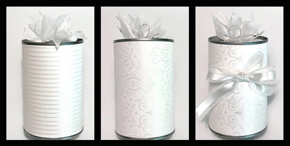 3 plain wedding gift-in-cans / Make a Wedding Gift-in-a-Can / www.HoneycombOasis.com