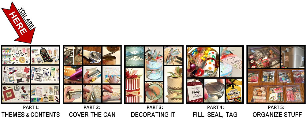 5 Parts of this series / Gift-in-a-Can: Themes & Contents (Part 1) / www.HoneycombOasis.com