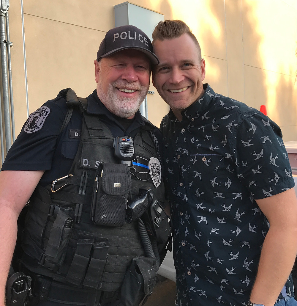 Officer Dave with son-in-love, Sam / Cop's Last Shift & Final Sign-off / HoneycombOasis.com