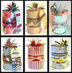 Collage of 6 Gift-in-a-Cans / Gift-in-a-Can: Fill, Seal, & Tag It  (Part 4) / www.HoneycombOasis.com