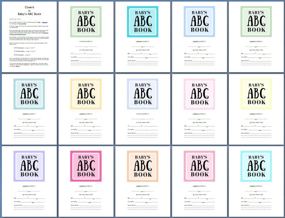 14 color options for Baby's ABC Book / ABC Book to Make at a Baby Shower / www.HoneycombOasis.com