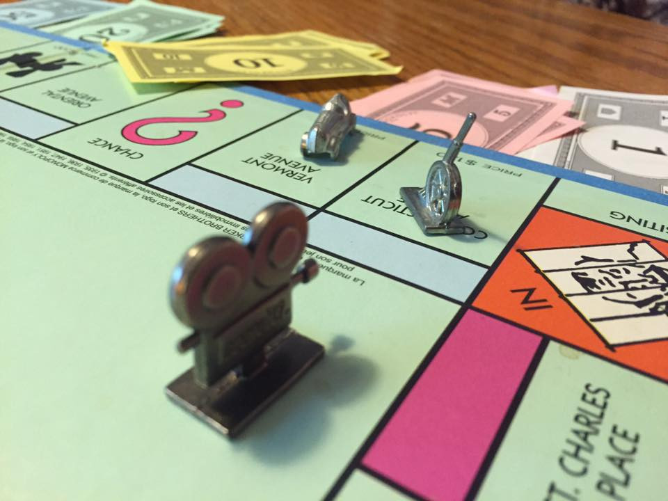 Movie camera focused on Chase's game piece / My Most Rousing Game of Monopoly. EVER! / www.HoneycombOasis.com
