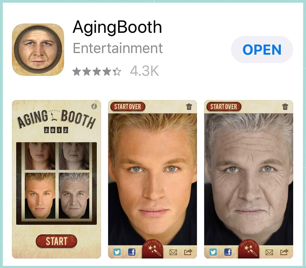 "Graphic of AgingBooth app with link / ""Older Barb"" Talks to ""Current Barb"" / www.HoneycombOasis.com"