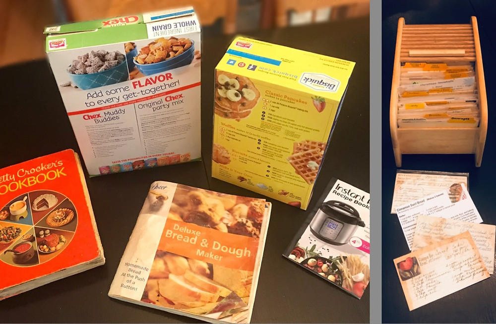 Various recipe sources (recipe book, cereal box, product booklet) and Recipe Card File / Create Your Own Personal Recipe Notebook / www.HoneycombOasis.com