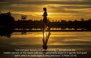Woman walking along lake with golden sky - In Pursuit of True Beauty - www.HoneycombOasis.com