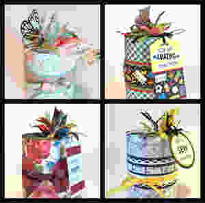 Collage of 4 cans with tags / Gift-in-a-Can: Fill, Seal, & Tag It  (Part 4) / www.HoneycombOasis.com