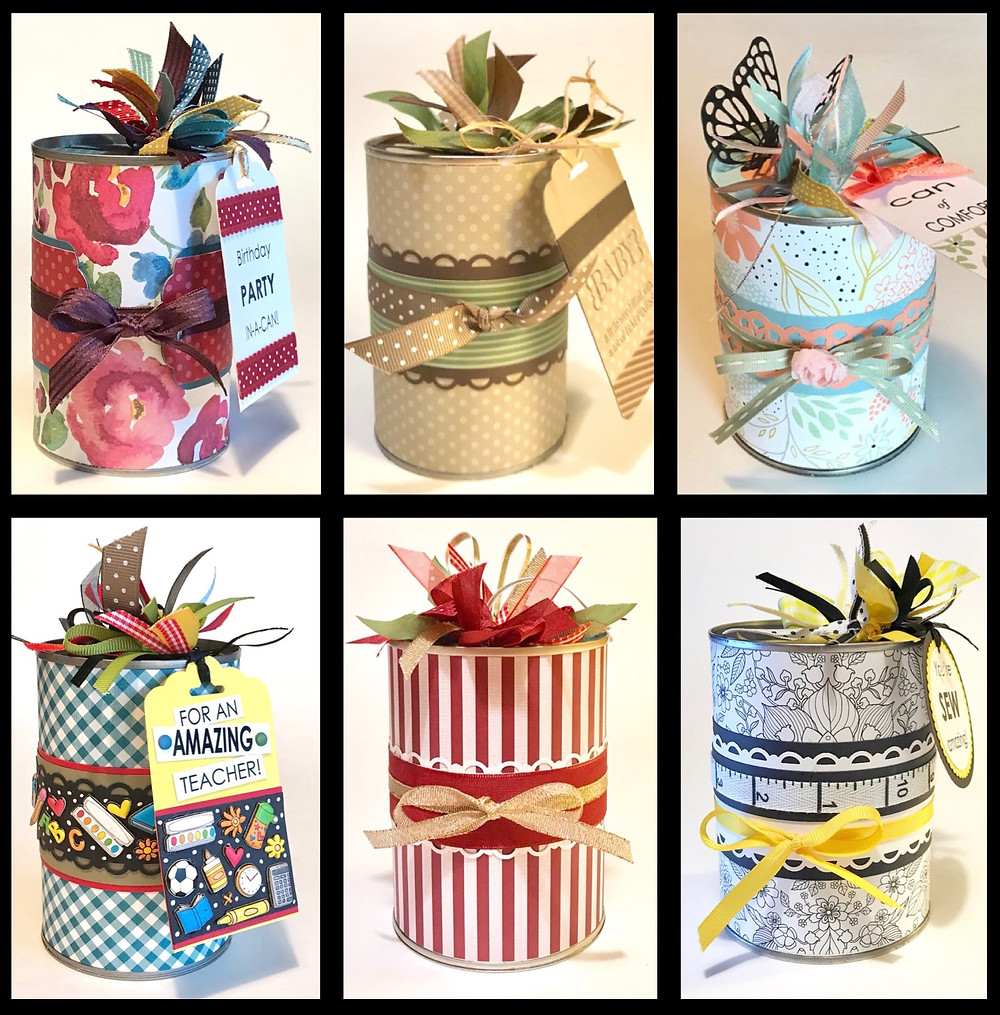 6 different Gift-in-a-Cans / Gift-in-a-Can: Minimalist Instructions / www.HoneycombOasis.com