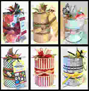6 different gift-in-a-can themes / Gift-in-a-Can: Themes & Contents (Part 1) / www.HoneycombOasis.com