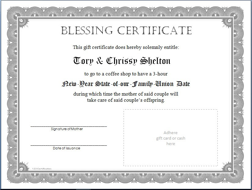 Blessing Certificate Sample  /  Looking Ahead to the New Year Dates  /  www.HoneycombOasis.com