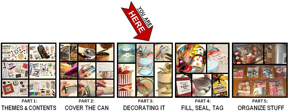 Collages of all 5 parts of creating a Gift-in-a-Can / Gift-in-a-Can: Decorating It  (Part 3) / www.HoneycombOasis.com
