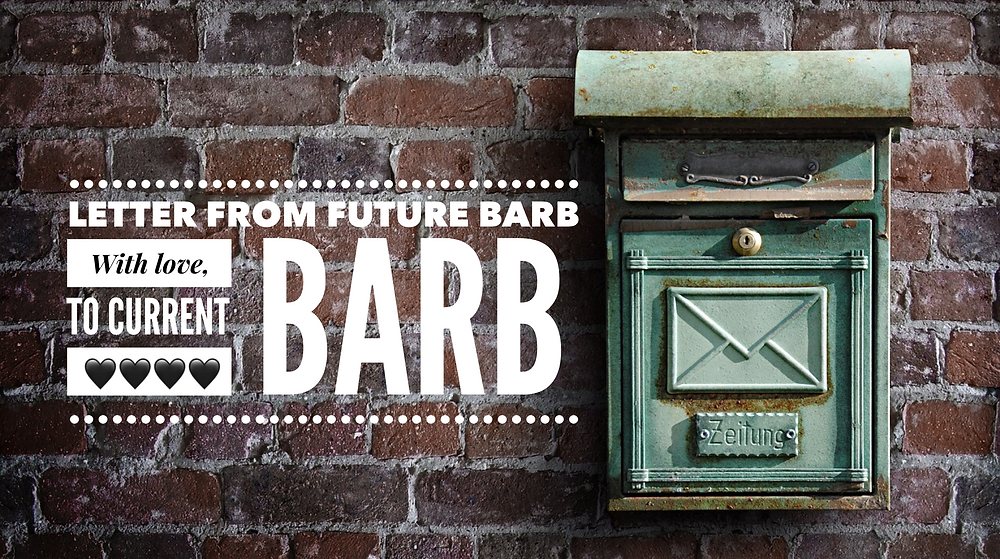 "Brick wall and mailbox Graphic for ""Letter from Future Barb"" / ""Older Barb"" Talks to ""Current Barb"" / www.HoneycombOasis.com"