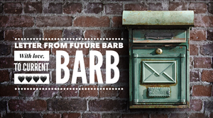"""Brick wall and mailbox Graphic for """"Letter from Future Barb"""" / """"Older Barb"""" Talks to """"Current Barb"""" / www.HoneycombOasis.com"""