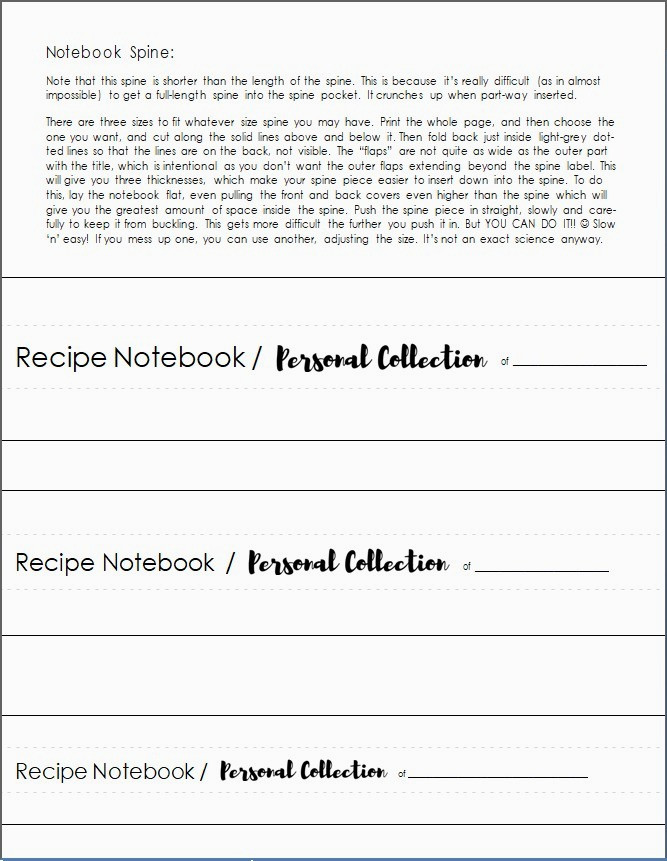 Notebook Spine directions and options / Create Your Own Personal Recipe Notebook / www.HoneycombOasis.com