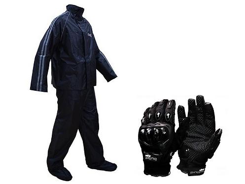 Impermeables Moto ich 313 + botas latex + guantes Original