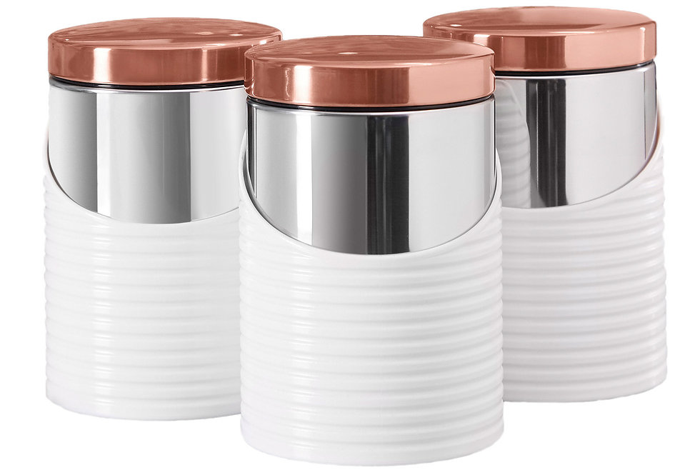 Tower Linear Set of 3 Storage Jars - Rose Gold/White