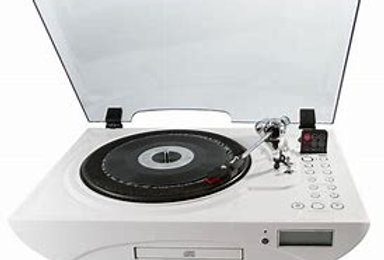 The JIVE, 3 speed turntable, cd and fm stereo
