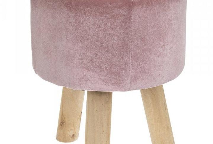 Pink velvet footstool