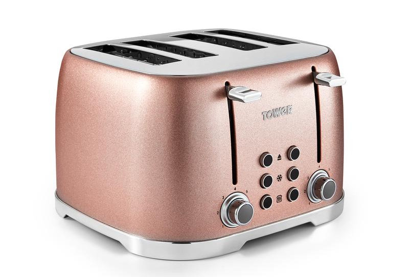 Tower glitz 4 slice blush toaster