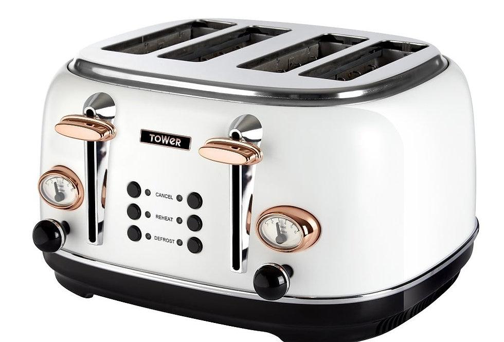 Tower bottega 4 slice toaster white and rose gold