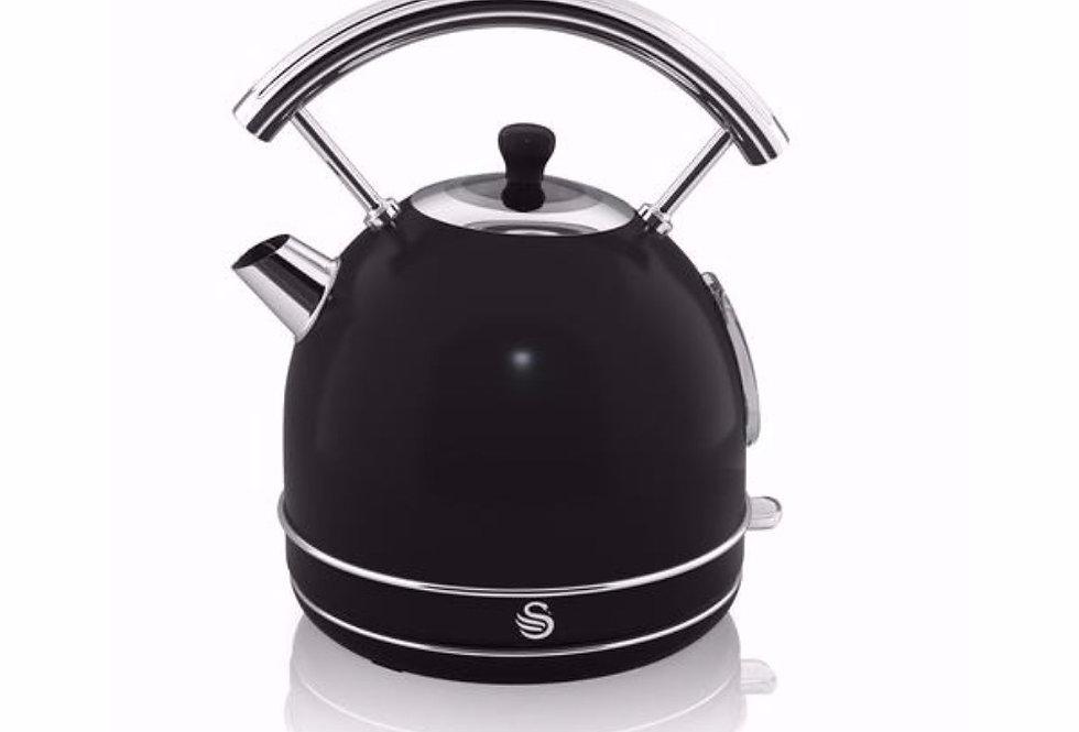 Swan retro 1.7L black dome kettle