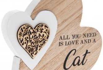 'Love and a cat' Natural Toned Side Heart Block