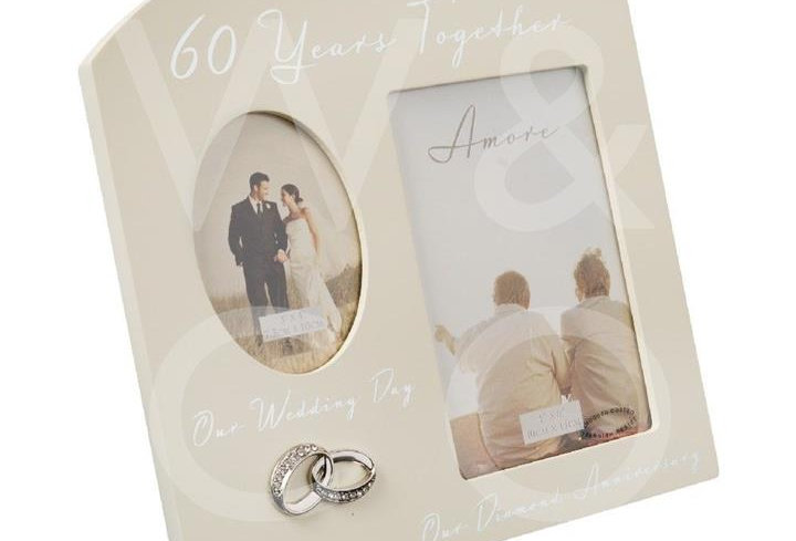 AMORE BY JULIANA® DOUBLE ANNIVERSARY FRAME - 60 YEARS
