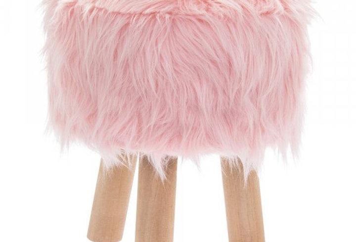 Pink fluffy footstool