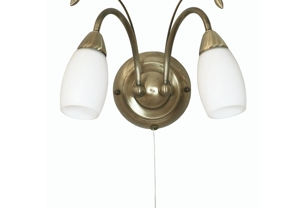 Antwerp 2 Light wall light antique brass
