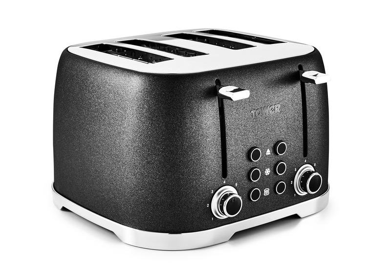 Tower glitz 4 slice black toaster