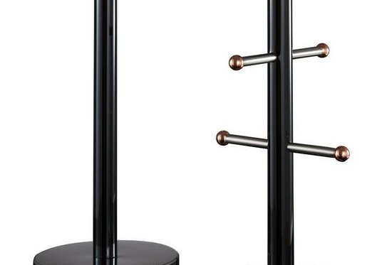 Tower Linear Towel Pole and Mug Tree - Black and Rose Gold
