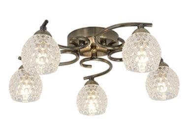 Searchlight Minnie 5 light in Antique brass