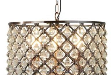 3 light drum pendant, Antique copper