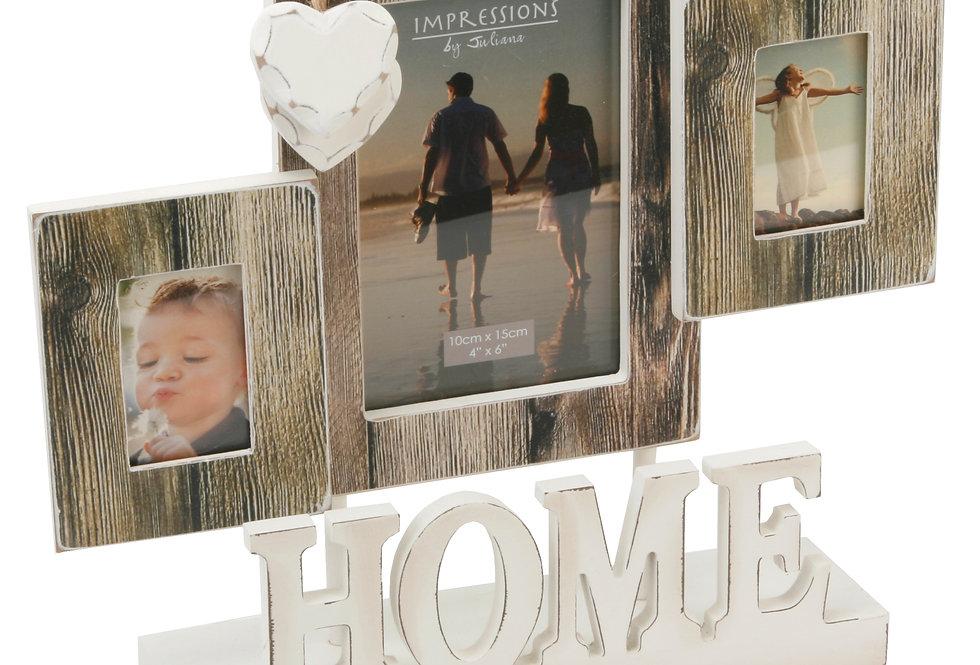 Distressed Wood Look Triple Aperture Photo Frame - Home