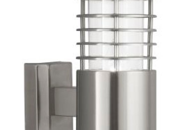 SATIN SILVER IP44 OUTDOOR LIGHT WITH POLYCARBONATE