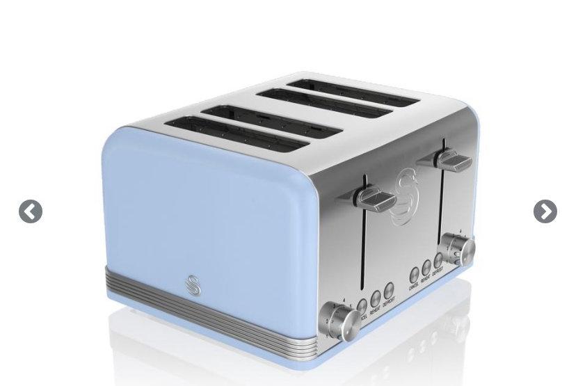 Swan retro baby blue 4 slice toaster